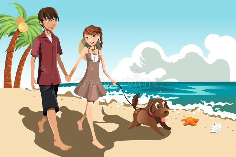Pares novos na praia ilustração do vetor