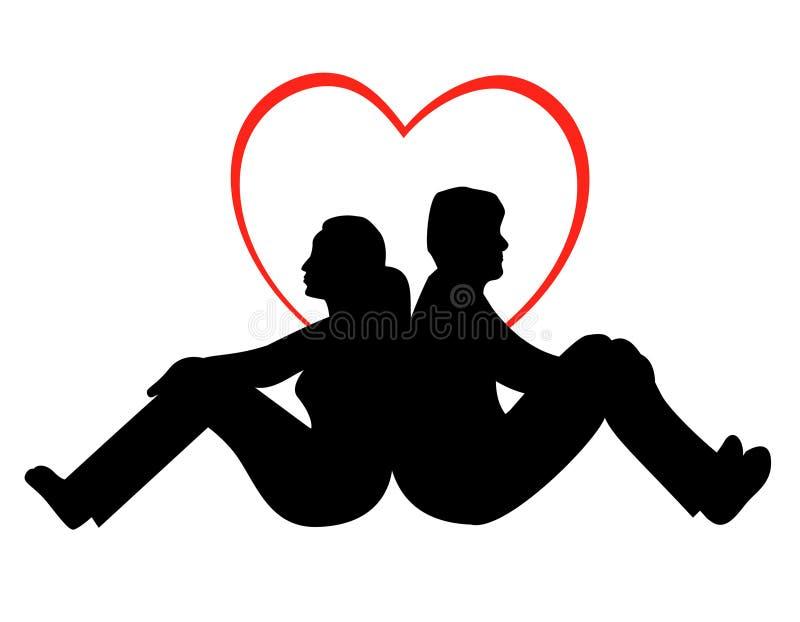 Pares novos no amor ilustração royalty free