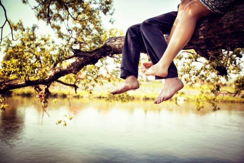 Pares novos no amor que senta-se de pernas cruzadas em um ramo de árvore acima do rio no dia ensolarado agradável fotos de stock