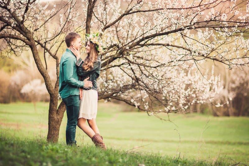 Pares novos no amor que tem uma data sob árvores cor-de-rosa da flor foto de stock royalty free