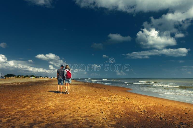 Pares novos que andam ao longo da praia que anda junto opinião traseira do conceito foto de stock royalty free