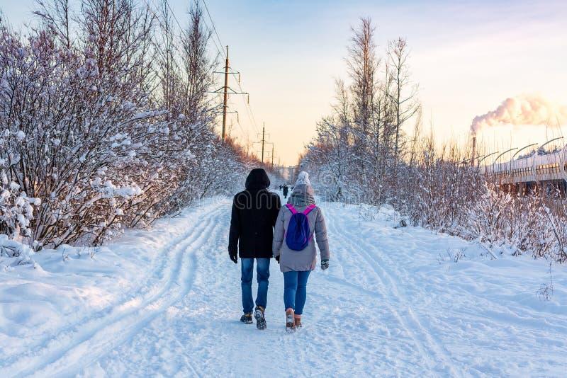 Pares novos que andam no parque em um dia gelado ensolarado do inverno imagem de stock royalty free