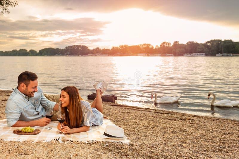 Pares novos que apreciam um piquenique na praia Encontro na cobertura do piquenique Cisnes brancas que nadam o fundo imagens de stock royalty free