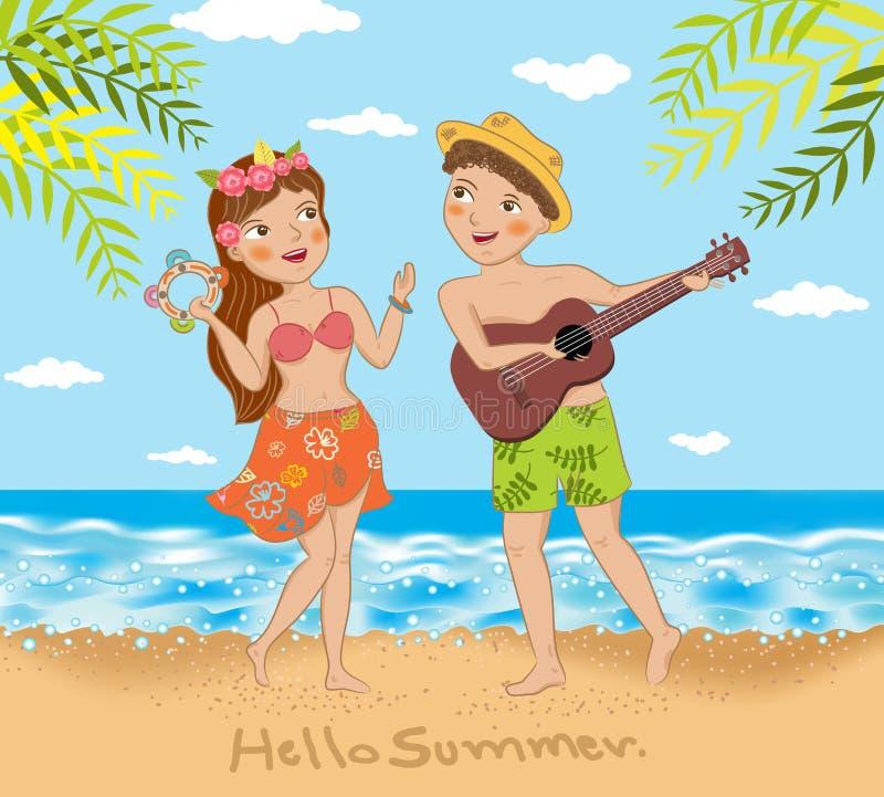 Pares novos que cantam e que dançam na praia ilustração do vetor