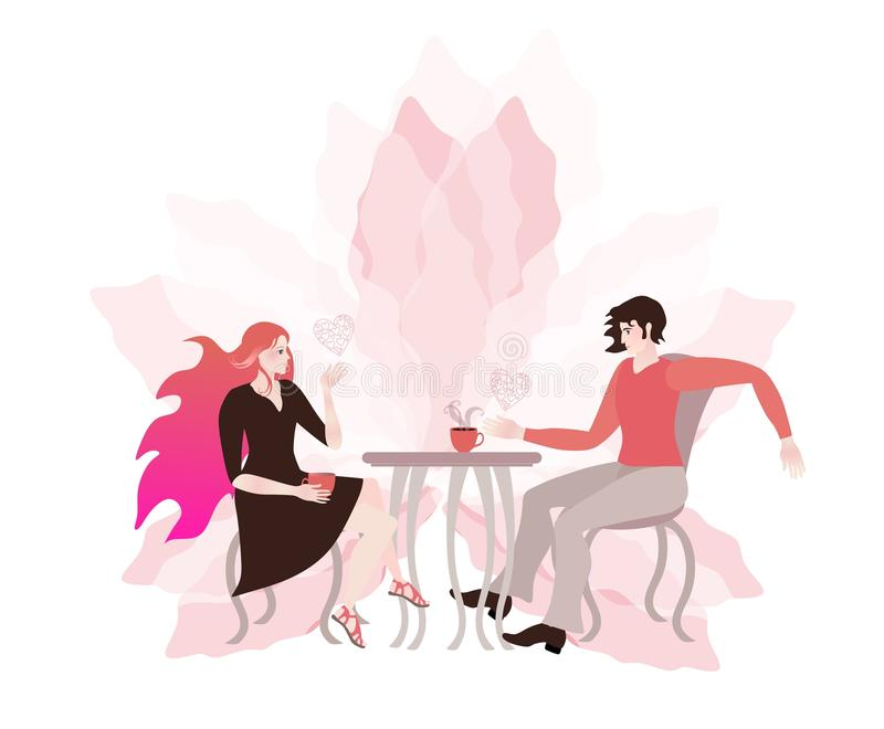 Pares novos que conversam em um café Cartão romântico Luz - flor e corações cor-de-rosa ilustração stock