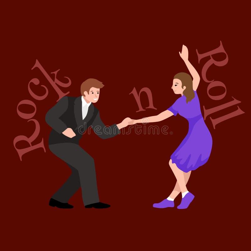 Pares novos que dançam o lúpulo lindy ou o balanço no rock and roll que dança, ilustração de uma formação, do homem e da mulher d ilustração do vetor