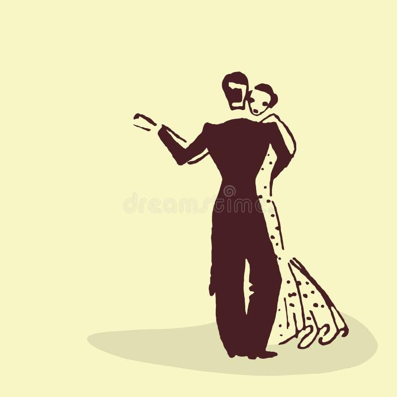 Pares novos que dançam a valsa ilustração stock