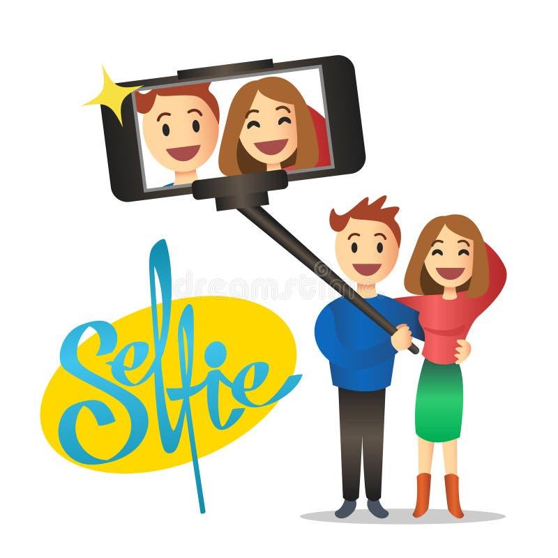 Pares novos que fazem o autorretrato usando a vara do selfie Vetor ilustração royalty free