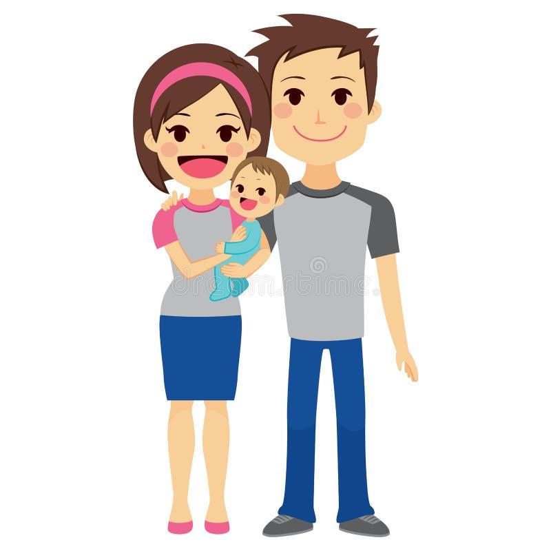 Pares novos que guardam o bebê ilustração do vetor
