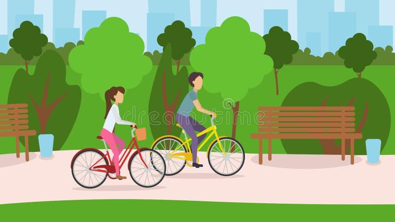 Pares novos que montam suas bicicletas através do parque ilustração do vetor