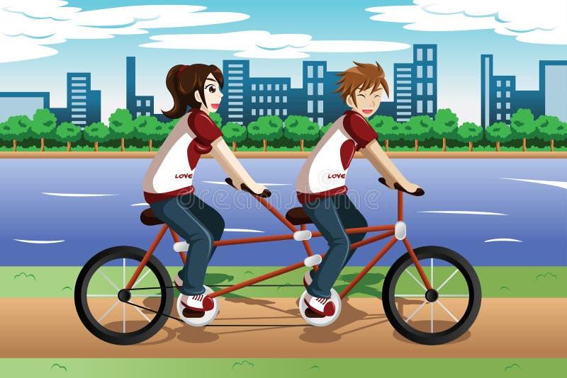 Pares novos que montam uma bicicleta em tandem ilustração stock