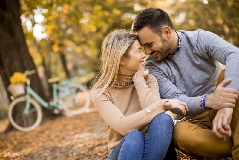 Pares novos que sentam-se na terra no parque do outono imagens de stock