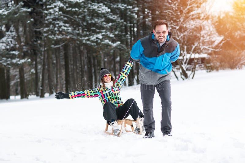 Pares novos que têm o divertimento na natureza do inverno com trenó foto de stock