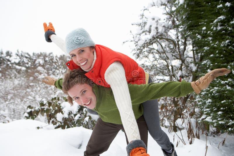 Pares novos que têm o divertimento na neve imagem de stock royalty free