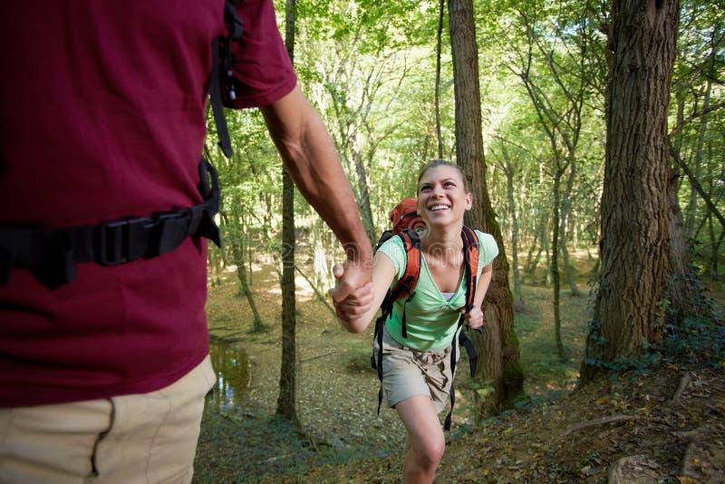 Pares novos que trekking na floresta e que prendem as mãos imagem de stock royalty free