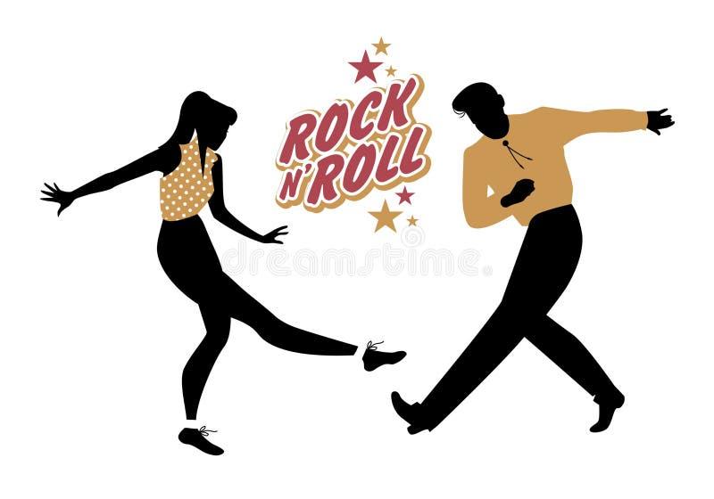 Pares novos que vestem 50 roupa do ` s que dançam o rock and roll Vetor ilustração royalty free