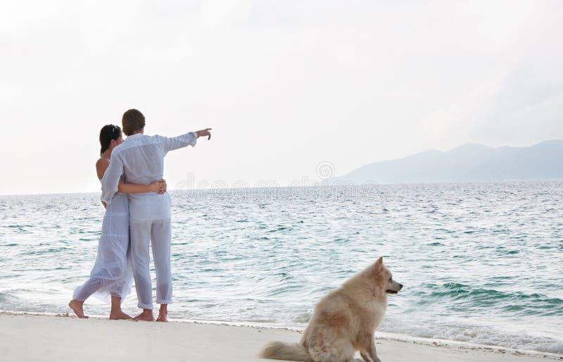 Pares novos românticos na costa de mar fotos de stock royalty free