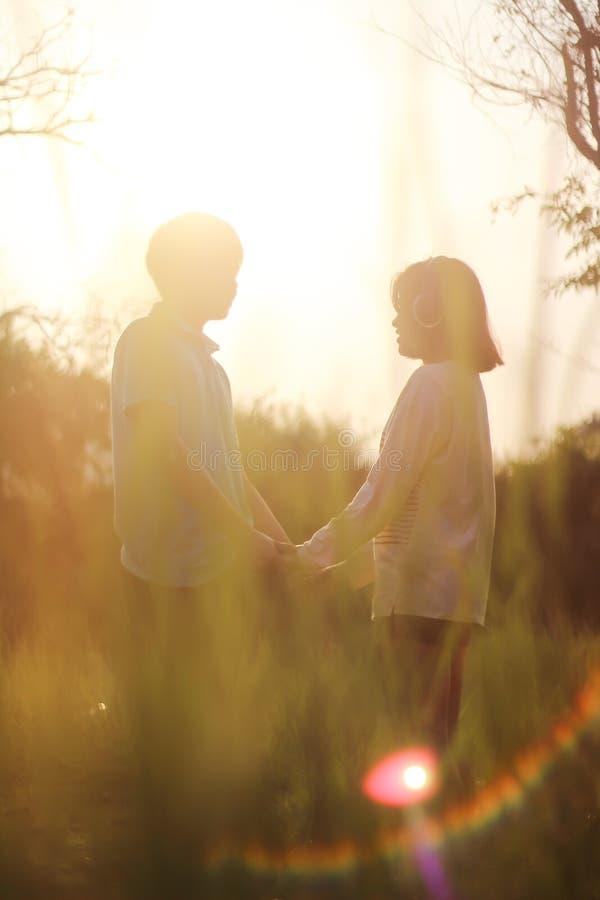 Pares novos românticos no amor fotos de stock