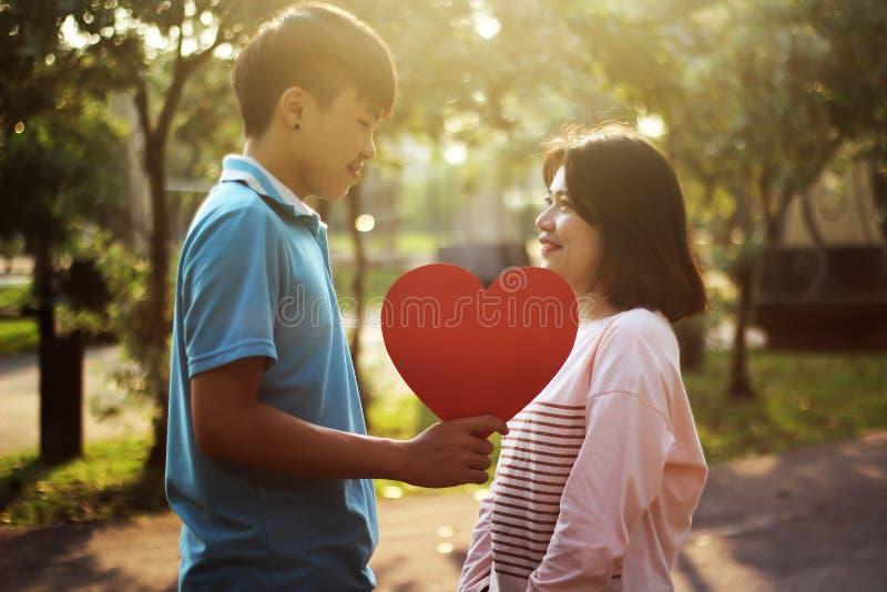 Pares novos românticos no amor fotografia de stock royalty free