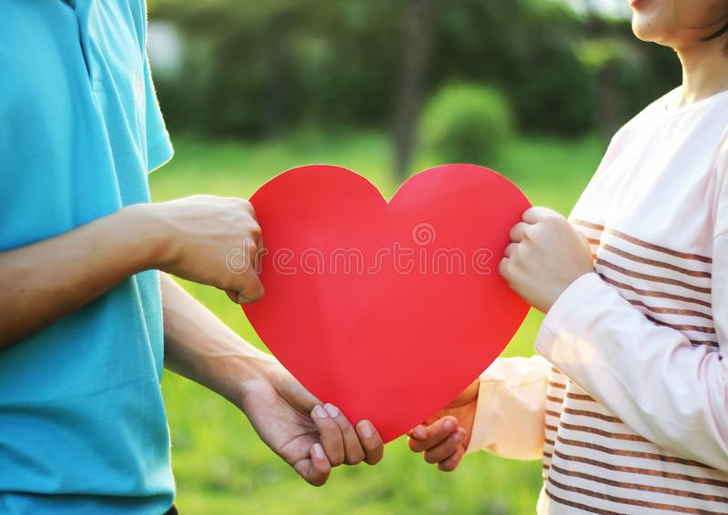 Pares novos românticos no amor fotos de stock royalty free