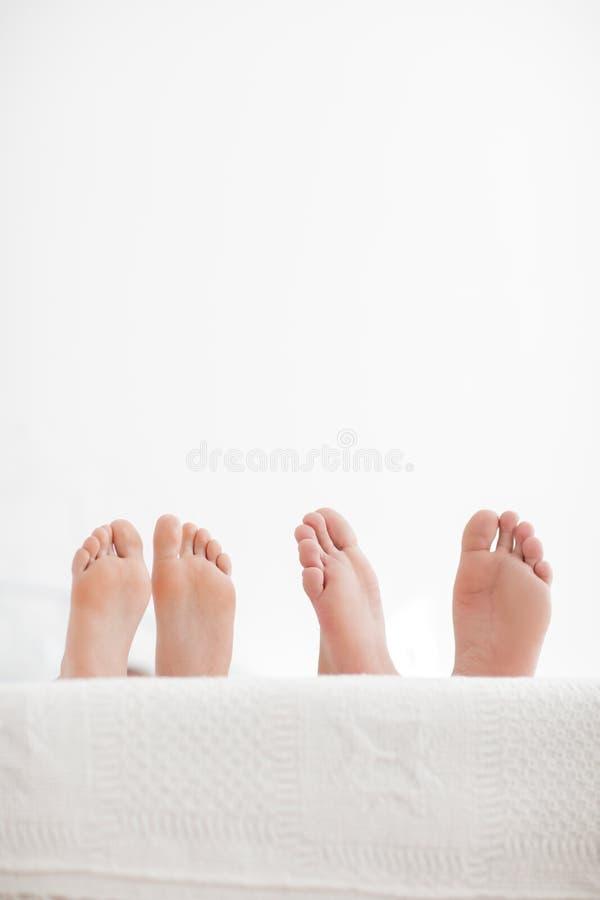 Pares novos sensuais junto na cama Pares felizes no quarto em um fundo branco foto de stock