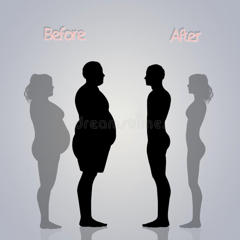 Pares obesos antes e depois da dieta ilustração stock