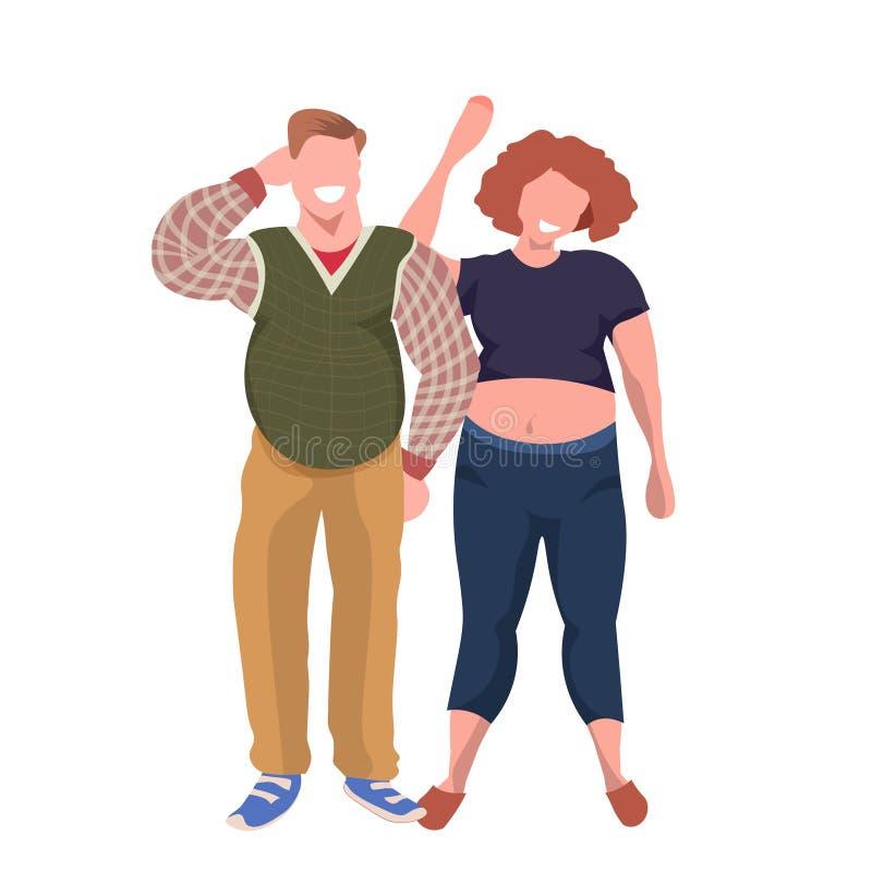Pares obesos gordos que colocan junto personajes de dibujos animados hembra-varón sonrientes del hombre de la mujer del concepto  ilustración del vector