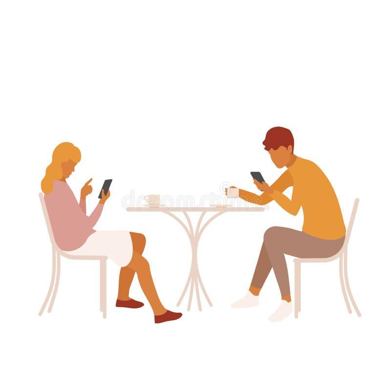 Pares ou amigos novos confundidos por seus smartphones em uma data ilustração royalty free