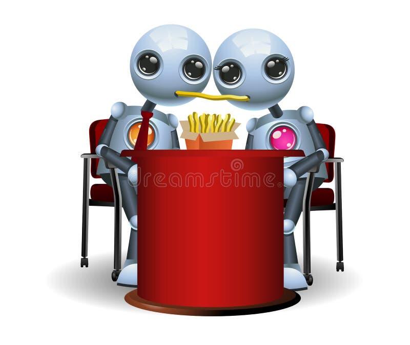 pares pequenos do robô que comem batatas fritas no jantar romântico ilustração do vetor