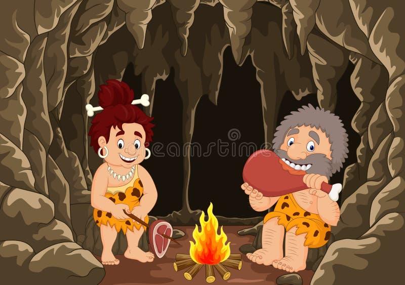 Pares pré-históricos do homem das cavernas dos desenhos animados com fundo da caverna ilustração do vetor