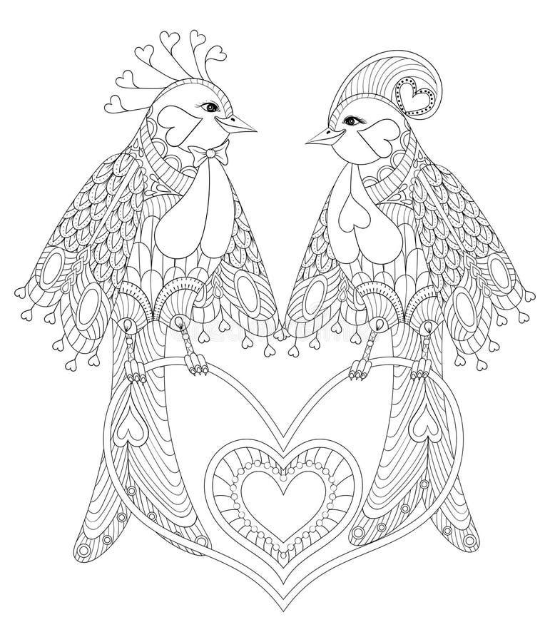 Pares preciosos del pájaro exótico que se sientan en el corazón para el str anti adulto libre illustration