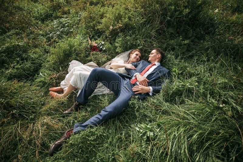 Pares preciosos que mienten en hierba verde en prado foto de archivo libre de regalías