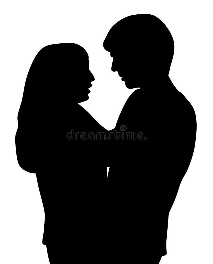 Pares que abraçam e que falam ilustração stock