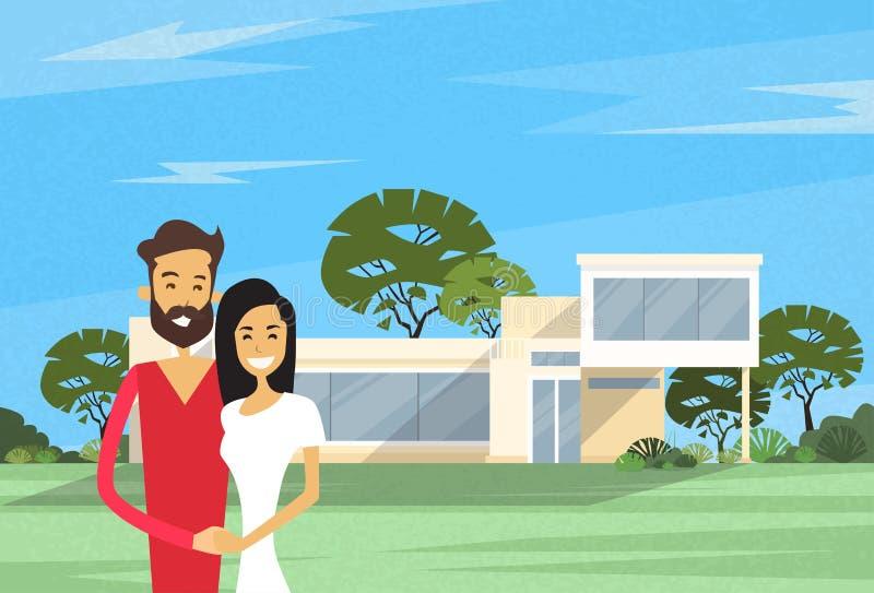 Pares que abrazan en el chalet de Front Of New House Modern ilustración del vector