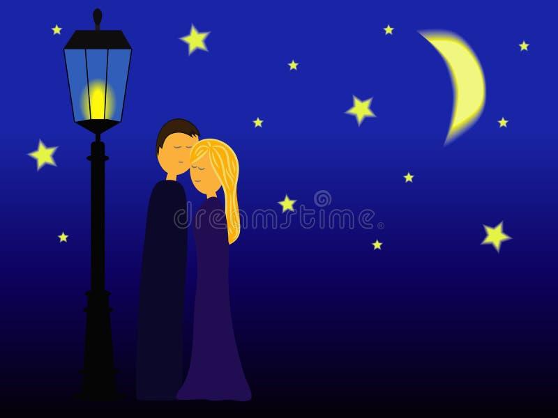 Pares que abrazan en la noche ilustración del vector