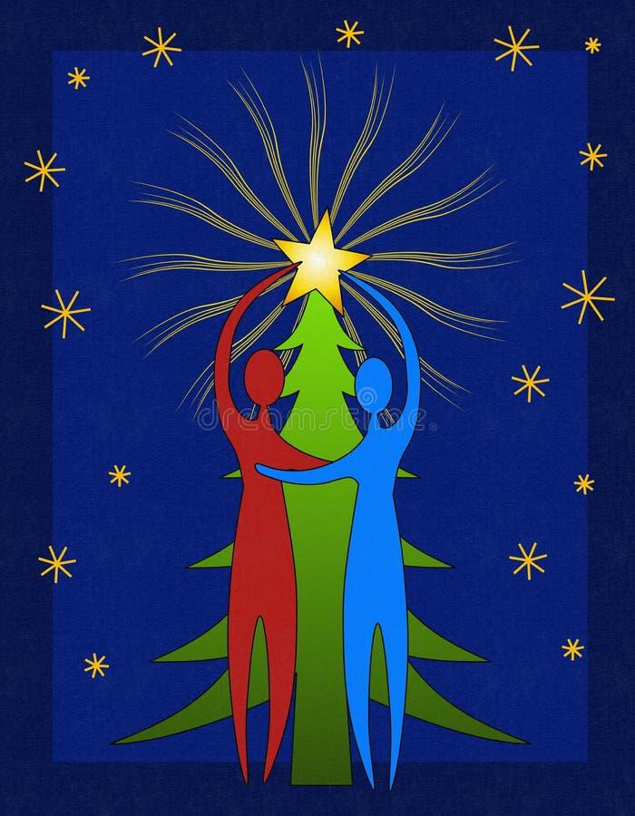 Pares que adornan el árbol de navidad foto de archivo libre de regalías