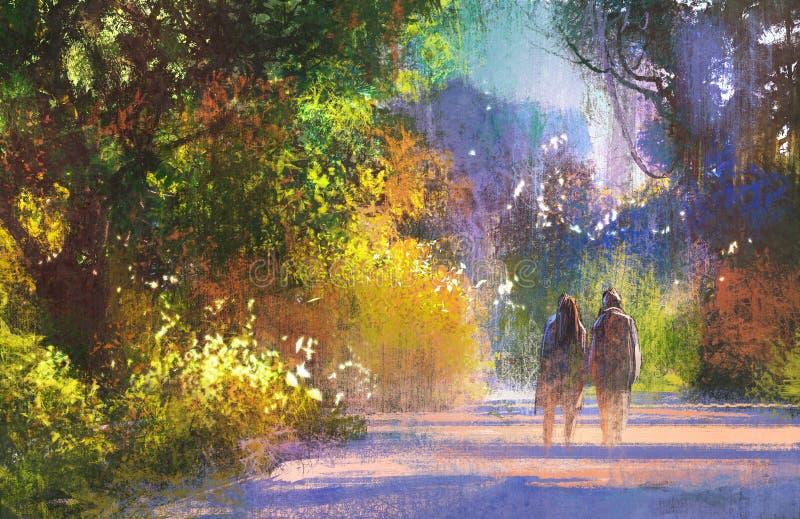 Pares que andam no lugar bonito, paisagem ilustração stock