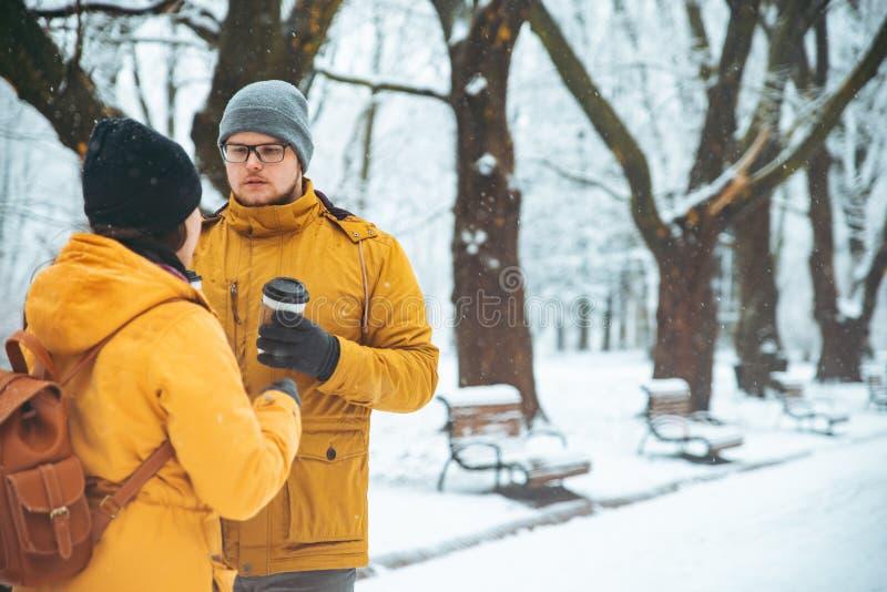 Pares que andam socializar de fala nevado do parque da cidade data romântica no tempo de inverno imagem de stock royalty free
