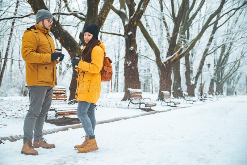 Pares que andam socializar de fala nevado do parque da cidade data romântica no tempo de inverno fotografia de stock royalty free