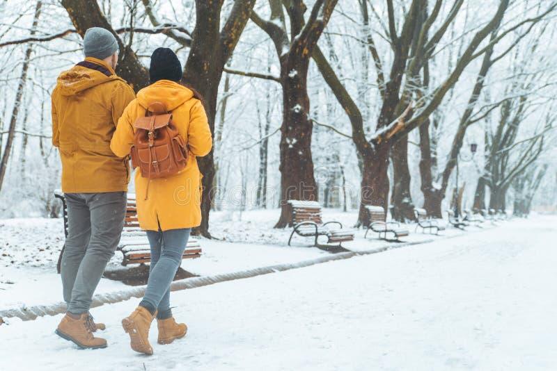 Pares que andam socializar de fala nevado do parque da cidade data romântica no tempo de inverno fotos de stock royalty free