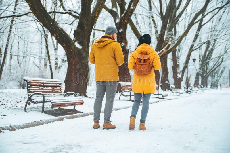 Pares que andam socializar de fala nevado do parque da cidade data romântica no tempo de inverno fotos de stock