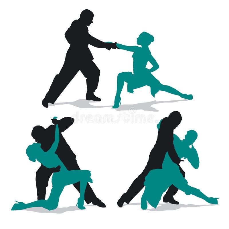 Pares que bailan el tango de Argentina ilustración del vector