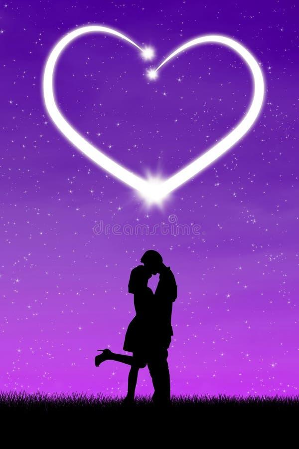 Pares que beijam com coração ilustração do vetor