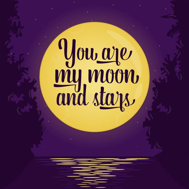 Pares que beijam no bonde Lua cheia e estrelas Illustra do vetor ilustração royalty free