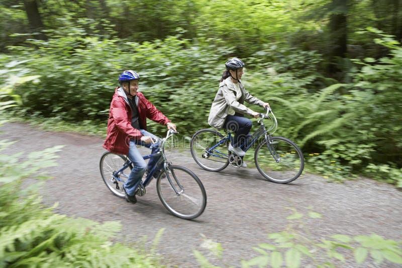 Pares que Biking em Forest Road imagens de stock