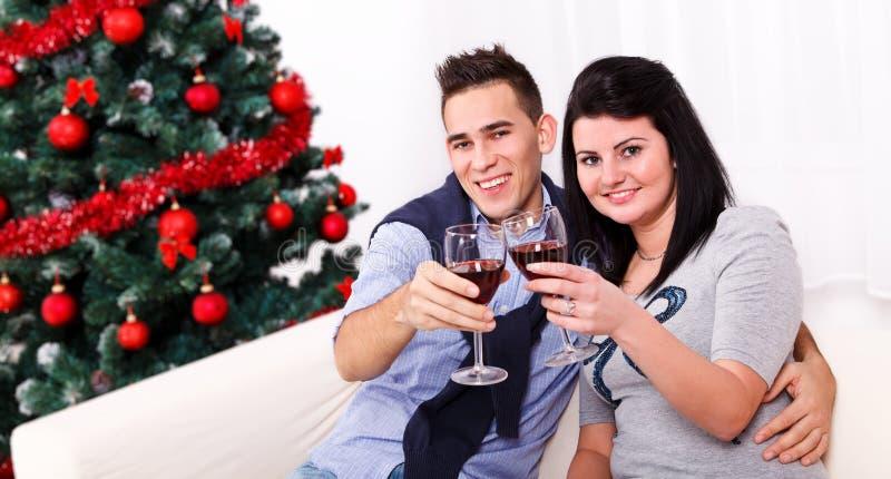 Pares que brindam com vinho imagens de stock royalty free