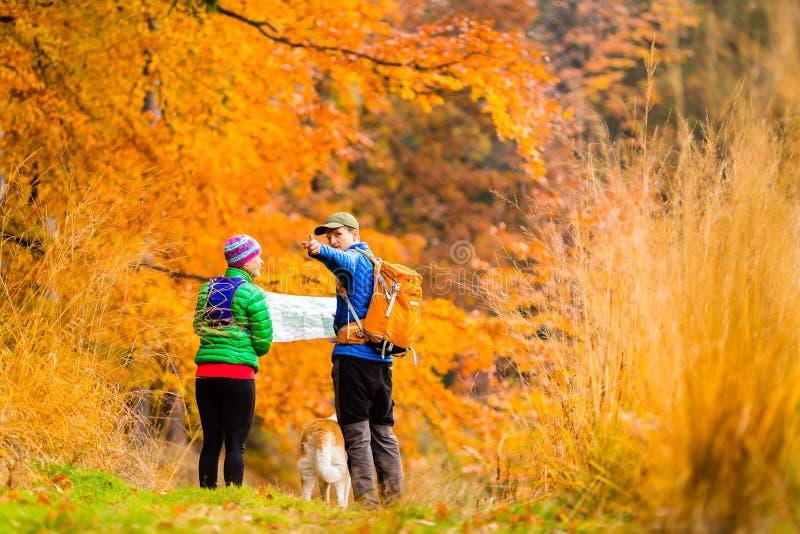 Pares que caminan con el mapa en bosque del otoño foto de archivo libre de regalías