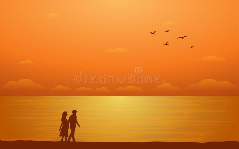 Pares que caminan de la silueta en la playa en diseño plano del icono bajo fondo del cielo de la puesta del sol stock de ilustración