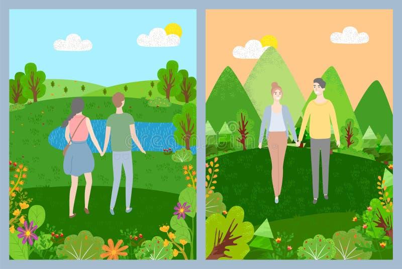 Pares que caminan en el parque, naturaleza verde, vector del amor stock de ilustración