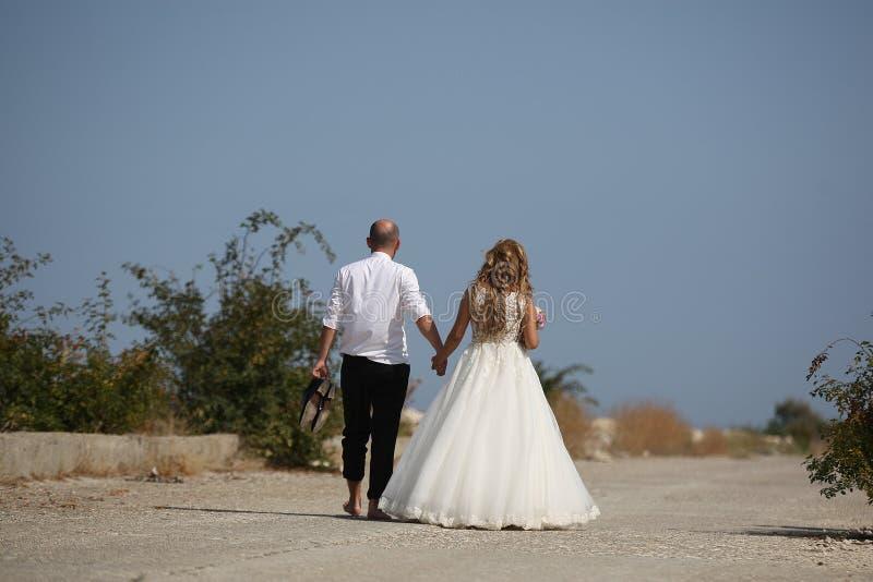 Pares que caminan, lado trasero de la boda imagen de archivo